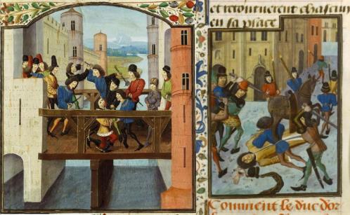 Assassinat du duc d'Orleans (à droite) et de Jean sans Peur (à gauche)