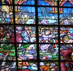 Capture de Ferrand - Détail du un vitrail de l'église Saint Pierre de Bouvines