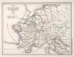 Carte du partage de l'empire de Charlemagne au traité de Verdun en 843
