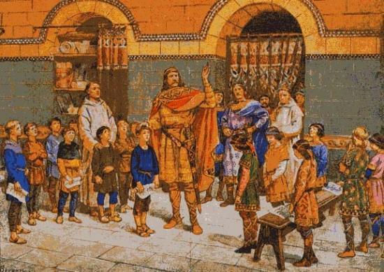 Charlemagne félicitant à sa droite les bons élèves et grondant ceux placés à gauche