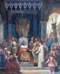 Charlemagne reçoit Alcuin qui lui présente des manuscrits réalisés par ses moines - Jean Victor Schnetz