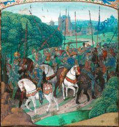 Charles VI saisi de folie dans la forêt du Mans. Enluminure du XVè siècle réalisée pour les chroniques de Jean Froissart