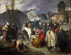 Dieu le veut ! Pierre l'Ermite parcourt à cheval les villages pour prêcher la première croisade en 1095 - Peinture de Francesco Hayez