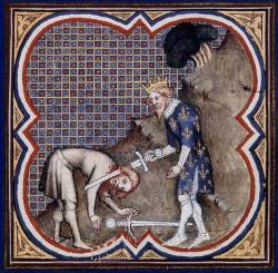 Enluminure représentant la vengeance de Clovis - Grandes chroniques de France de Charles V - BNF