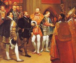 Francois Ier et Charles-Quint visitent les tombeaux de Saint Denis le 13 janvier 1540