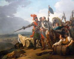 Henri IV faisant entrer des vivres dans Paris. Assiégeant paris en 1590 Henri IV décide contre l'avis de ses généraux de ravitailler la ville affamée
