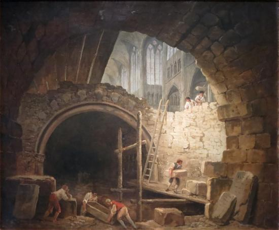 La violation des tombeaux des Rois dans la basilique de Saint Denis en octobre 1793 par Hubert Robert- Musée Carnavalet