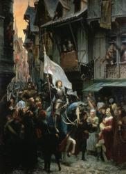 Jeanne d'Arc victorieuse des anglais rentre à Orléans et est acclamée par la population - Jean Jacques Scherrer