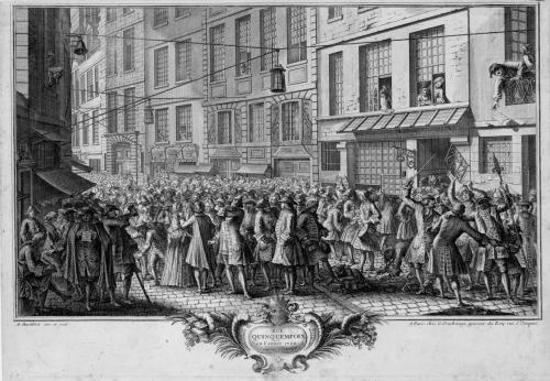 La banqueroute de Law par Antoine Humblot - Rue Quincampoix en l'année 1720 (source BnF)