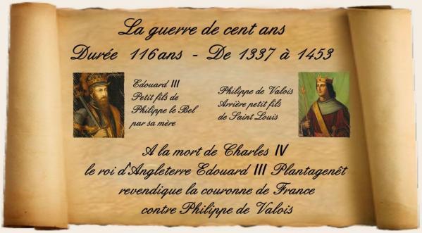 La guerre de cent ans - durée 116 ans - De 1337 à 1453