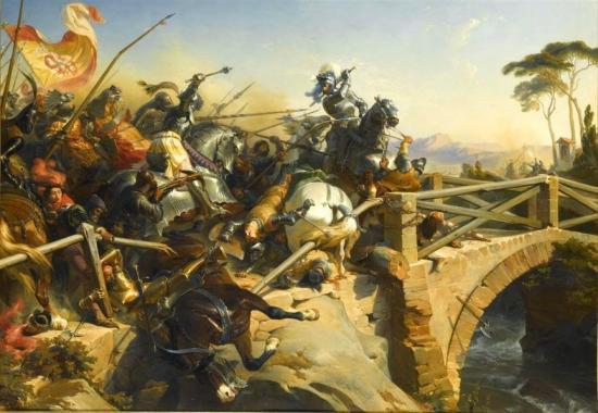 Le chevalier Bayard défendant le pont du Garigliano durant la 3ème guerre d'Italie par Philippoteaux