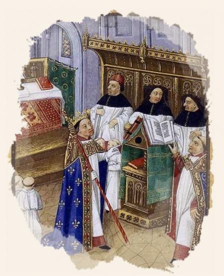 Robert le Pieux à l'office dans la cathédrale d'Orléans par Robinet Testard