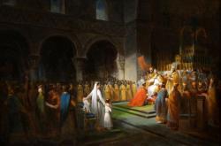 Sacre de Pépin le Bref par le pape Etienne II à Saint Denis, le 28 juillet 754