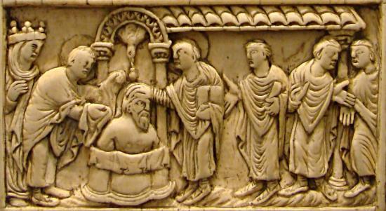 Saint Remy baptisant Clovis et miracle de la Sainte Ampoule
