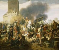 Siège de Paris 885 - 886 - Eudes défendant Paris contre les Normands par Victor Schnetz - Galerie des batailles à Versailles