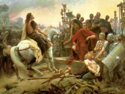 Vercingétorix jetant ses armes aux pieds de Jules César par Lionel Royer