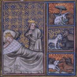 Visions de Childéric Ier et de la reine Basine - Grandes chroniques de France de Charles V -  BNF